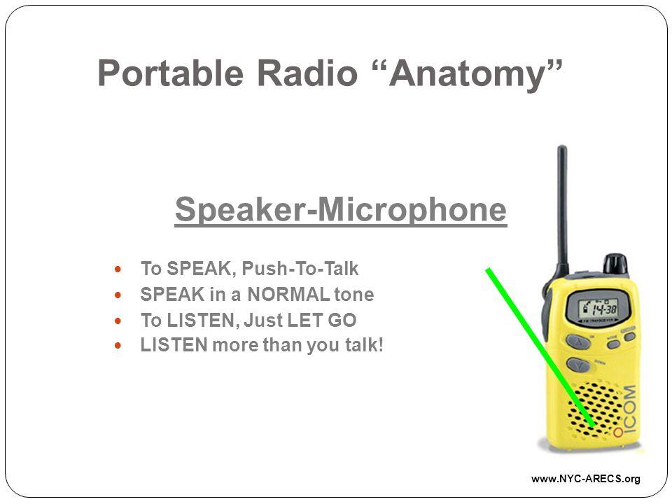 Portable Radio Anatomy Speaker-Microphone To SPEAK, Push-To-Talk SPEAK in a NORMAL tone To LISTEN, Just LET GO LISTEN more than you talk.