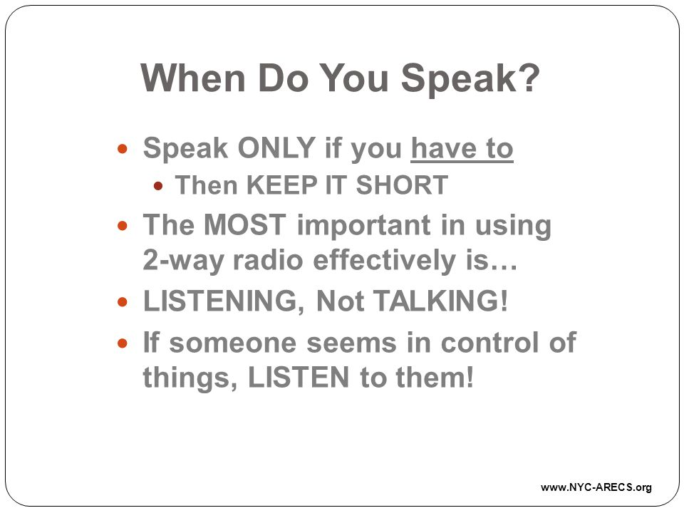 When Do You Speak.