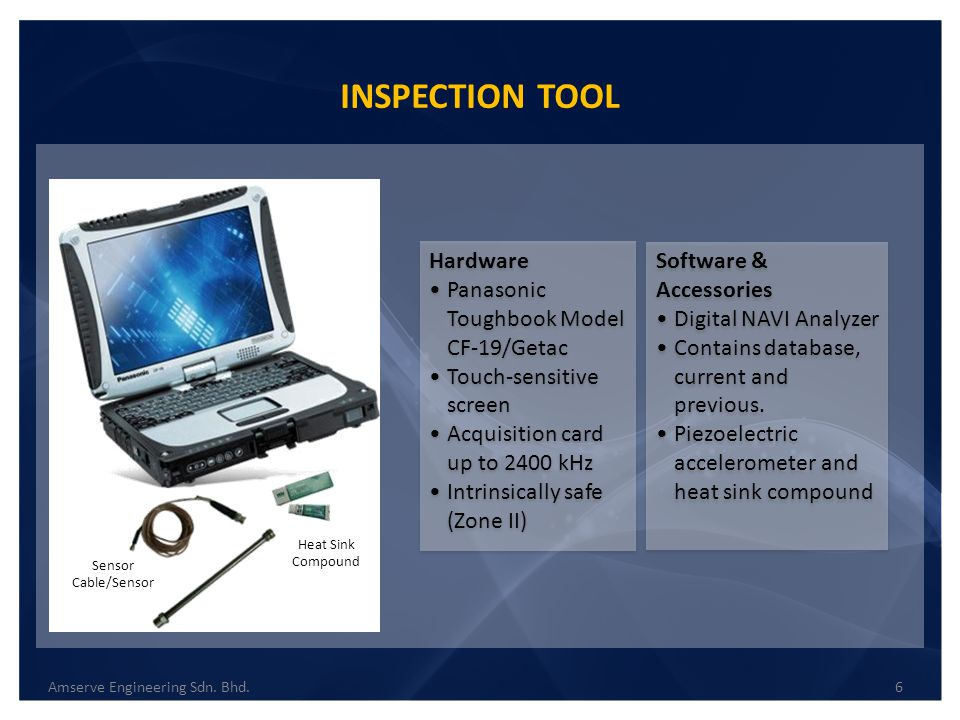 INSPECTION TOOL 6Amserve Engineering Sdn. Bhd. Sensor Cable/Sensor Heat Sink Compound Hardware Panasonic Toughbook Model CF-19/Getac Touch-sensitive s