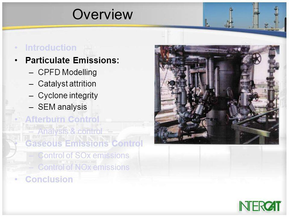 Overview Introduction Particulate Emissions: –CPFD Modelling –Catalyst attrition –Cyclone integrity –SEM analysis Afterburn Control –Analysis & control Gaseous Emissions Control –Control of SOx emissions –Control of NOx emissions Conclusion