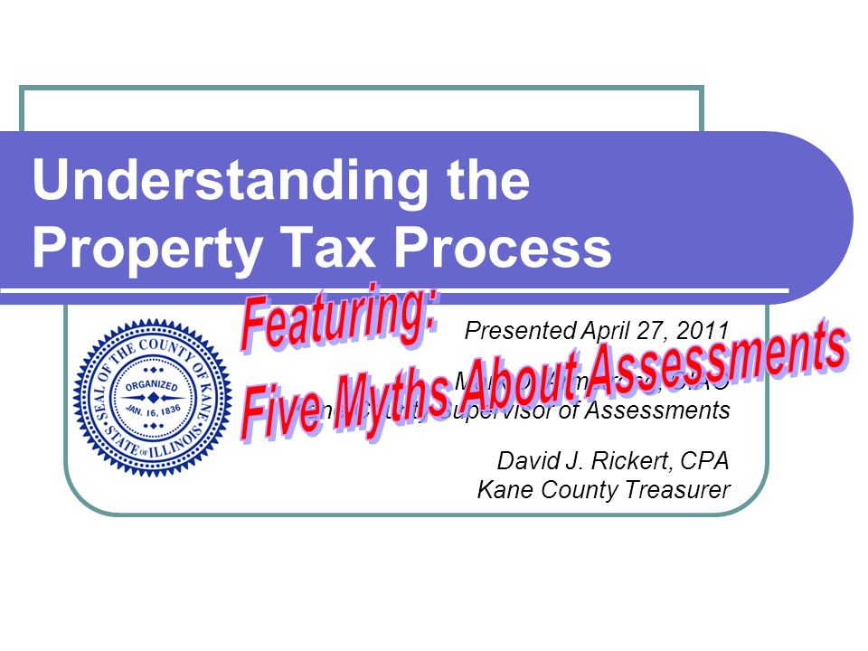 Understanding the Property Tax Process Presented April 27, 2011 Mark D. Armstrong, CIAO Kane County Supervisor of Assessments David J. Rickert, CPA Ka