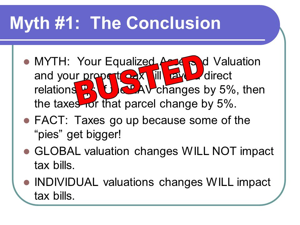Myth #1: The Conclusion MYTH: Your Equalized Assessed Valuation and your property tax bill have a direct relationship: If the EAV changes by 5%, then