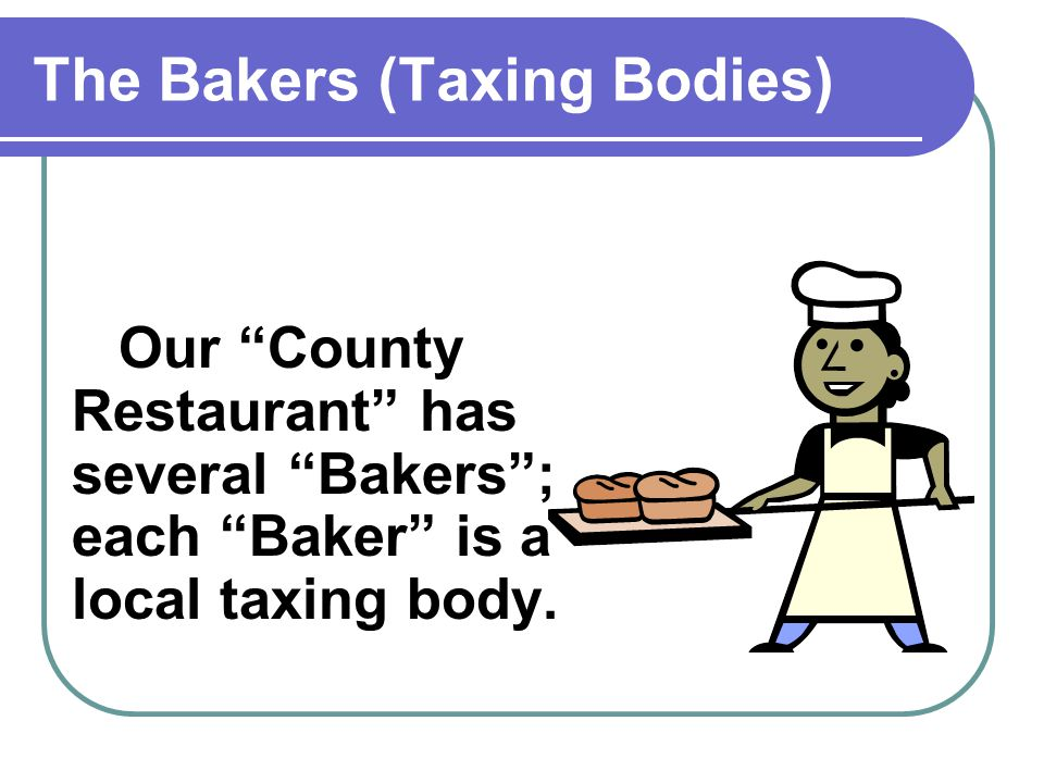 The Bakers (Taxing Bodies) Some of the Bakers make small pies...