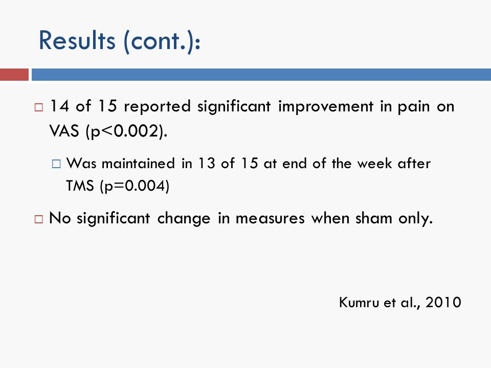 Results (cont.): 14 of 15 reported significant improvement in pain on VAS (p<0.002). Was maintained in 13 of 15 at end of the week after TMS (p=0.004)