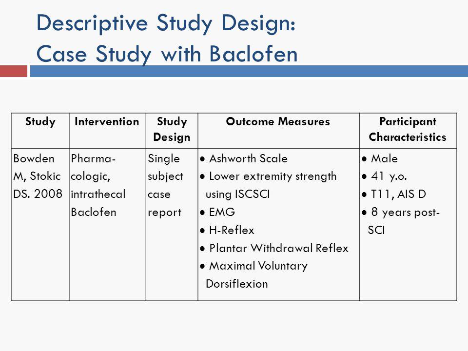 Descriptive Study Design: Case Study with Baclofen StudyInterventionStudy Design Outcome MeasuresParticipant Characteristics Bowden M, Stokic DS. 2008