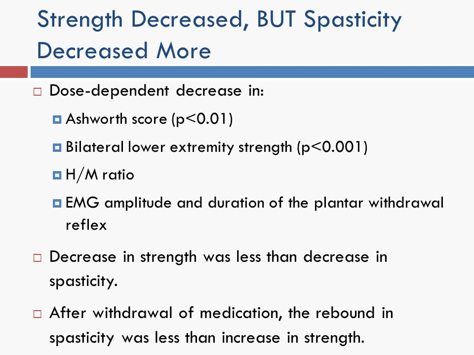 Strength Decreased, BUT Spasticity Decreased More Dose-dependent decrease in: Ashworth score (p<0.01) Bilateral lower extremity strength (p<0.001) H/M