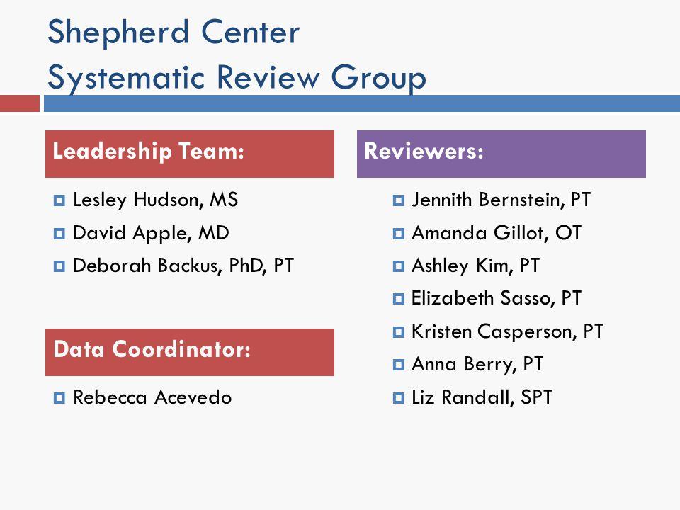 Shepherd Center Systematic Review Group Lesley Hudson, MS David Apple, MD Deborah Backus, PhD, PT Rebecca Acevedo Jennith Bernstein, PT Amanda Gillot,