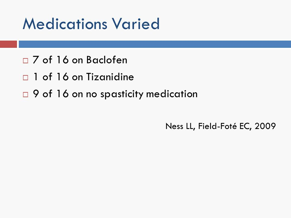 Medications Varied 7 of 16 on Baclofen 1 of 16 on Tizanidine 9 of 16 on no spasticity medication Ness LL, Field-Foté EC, 2009