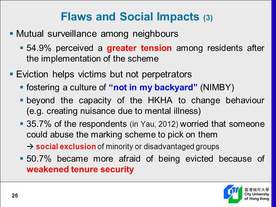 26 Mutual surveillance among neighbours 54.9% perceived a greater tension among residents after the implementation of the scheme Eviction helps victim