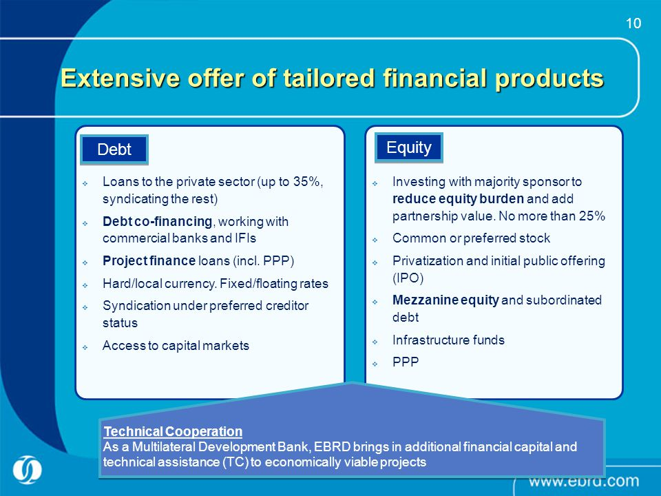 10 Extensive offer of tailored financial products Debt Equity Loans to the private sector (up to 35%, syndicating the rest) Debt co-financing, working