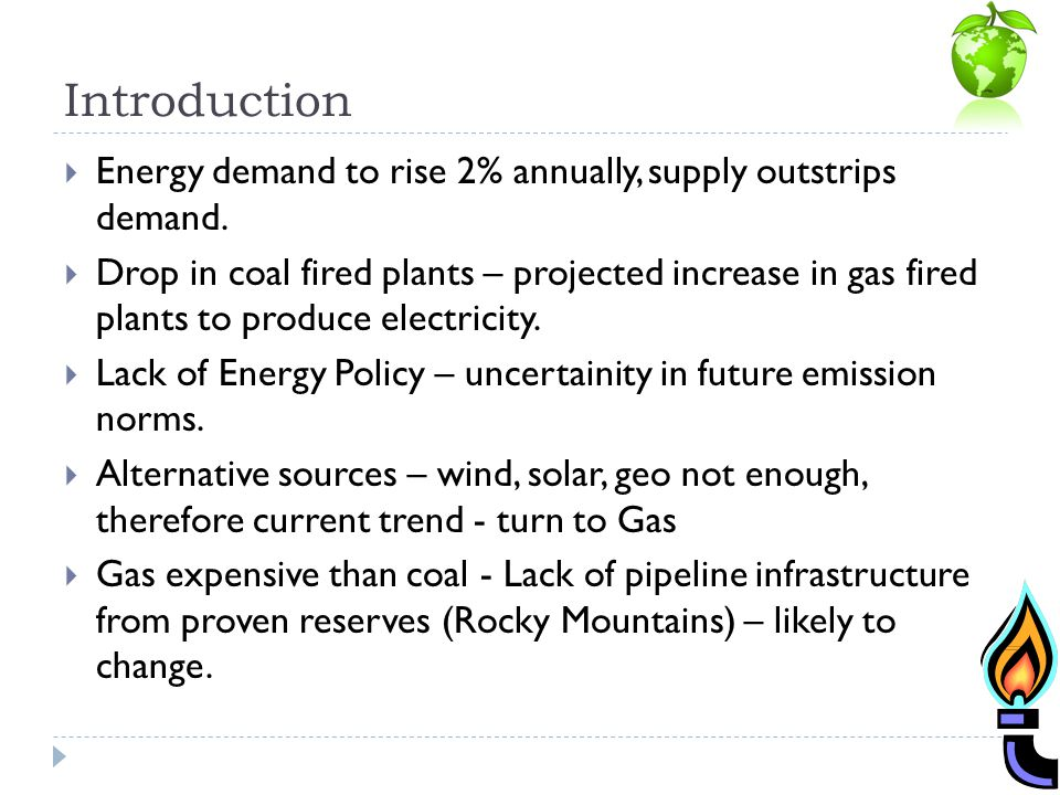 Introduction Energy demand to rise 2% annually, supply outstrips demand.