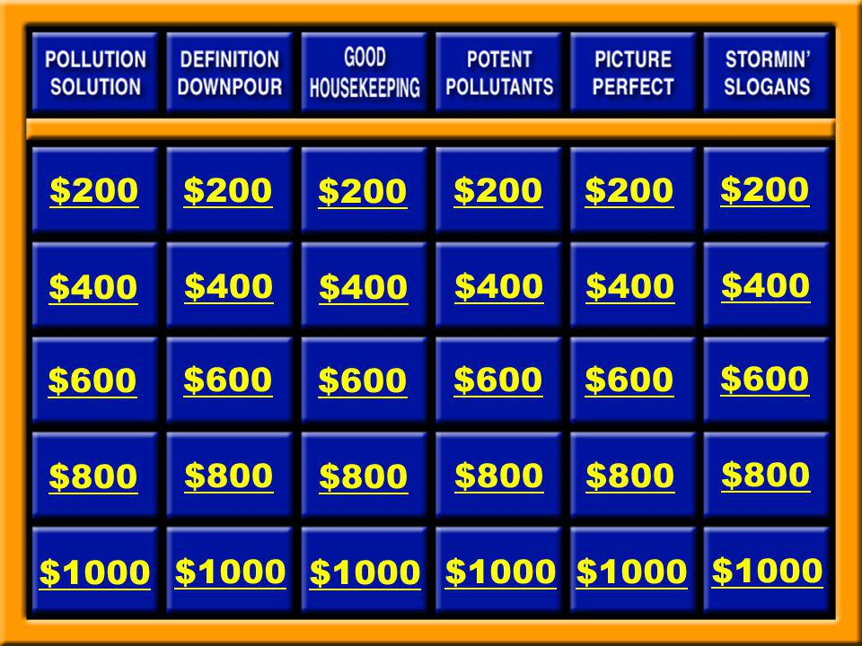 Stormin Slogans for $200 Be the Solution to Stormwater _____________. Answer