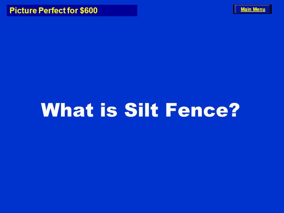 Picture Perfect for $600 What is Silt Fence? Main Menu