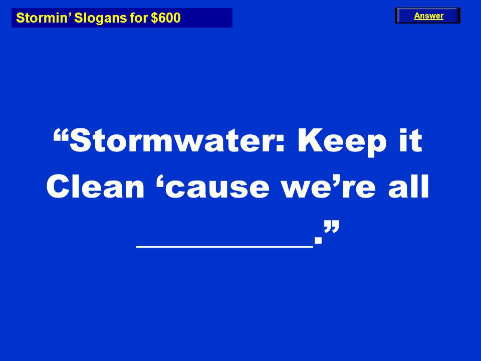 Stormin Slogans for $600 Stormwater: Keep it Clean cause were all ___________. Answer