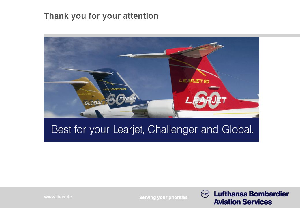 Lufthansa Bombardier Aviation Services 10.2012, page 12 Thank you for your attention Serving your priorities www.lbas.de