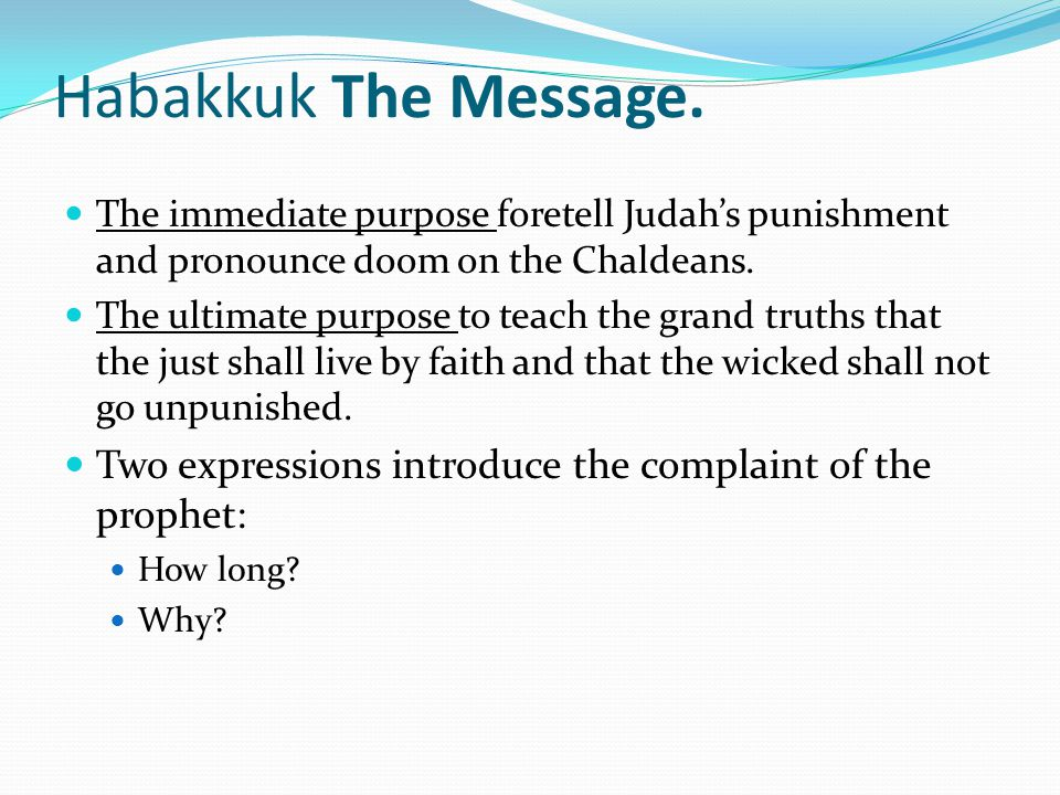 Habakkuk The Message.
