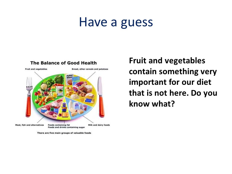 Have a guess Fruit and vegetables contain something very important for our diet that is not here. Do you know what?