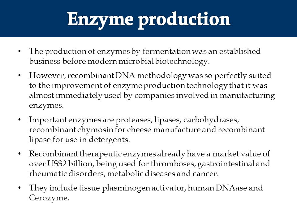 The production of enzymes by fermentation was an established business before modern microbial biotechnology. However, recombinant DNA methodology was