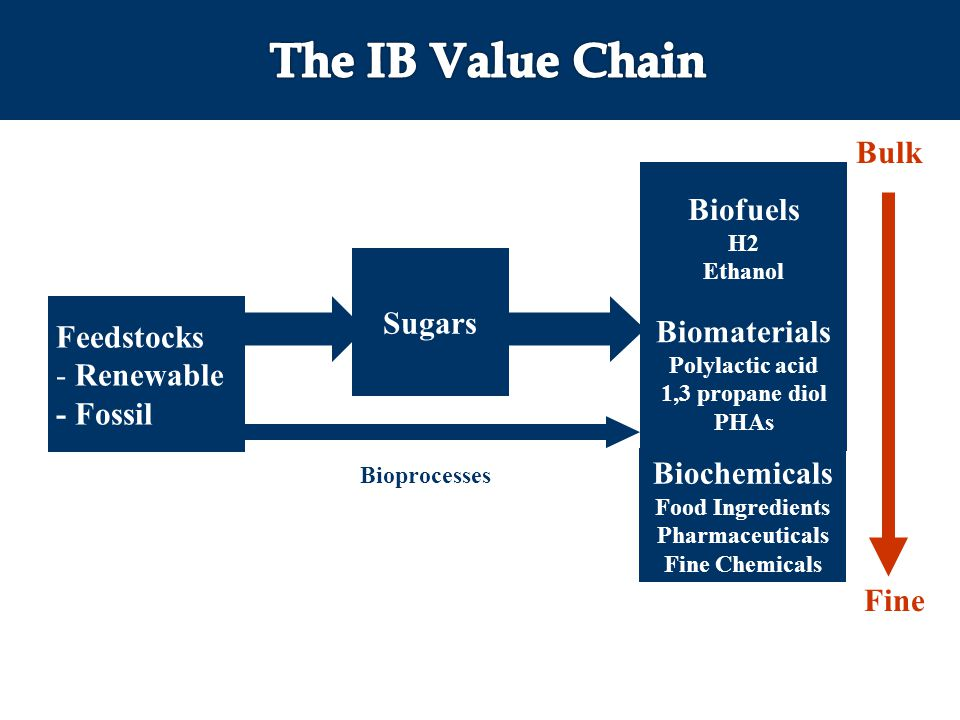 Biofuels H2 Ethanol Sugars Feedstocks - Renewable - Fossil Biochemicals Food Ingredients Pharmaceuticals Fine Chemicals Biomaterials Polylactic acid 1