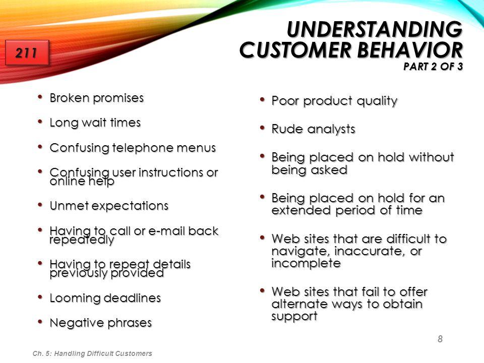 8 Broken promises Broken promises Long wait times Long wait times Confusing telephone menus Confusing telephone menus Confusing user instructions or o