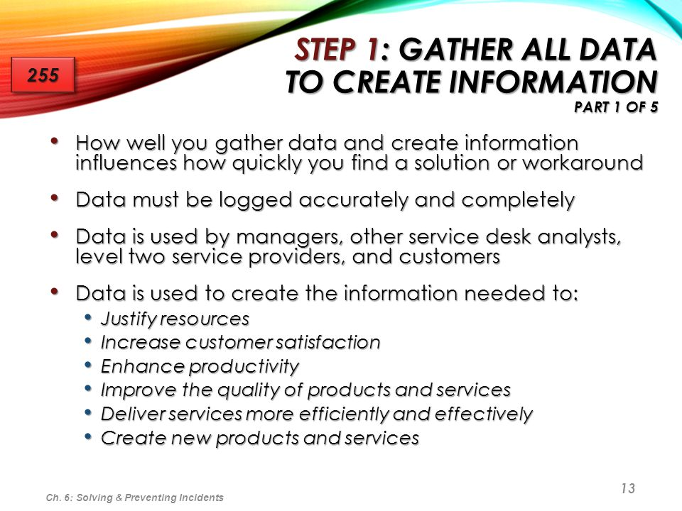 13 STEP 1: GATHER ALL DATA TO CREATE INFORMATION PART 1 OF 5 How well you gather data and create information influences how quickly you find a solutio