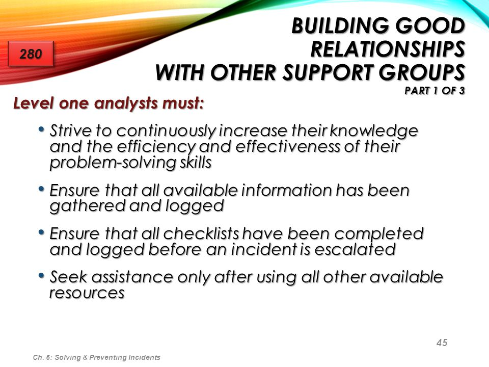 45 BUILDING GOOD RELATIONSHIPS WITH OTHER SUPPORT GROUPS PART 1 OF 3 Level one analysts must: Strive to continuously increase their knowledge and the