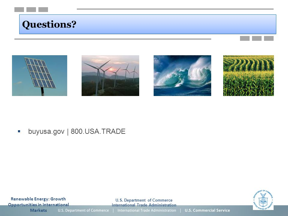 U.S. Department of Commerce International Trade Administration Questions.