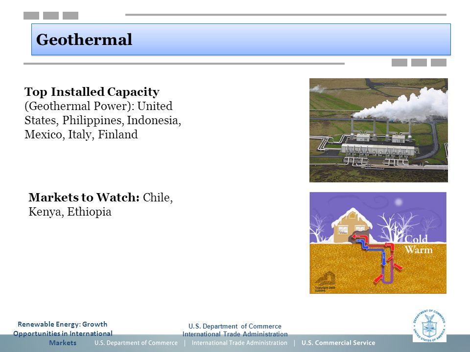 Geothermal Top Installed Capacity (Geothermal Power): United States, Philippines, Indonesia, Mexico, Italy, Finland U.S. Department of Commerce Intern