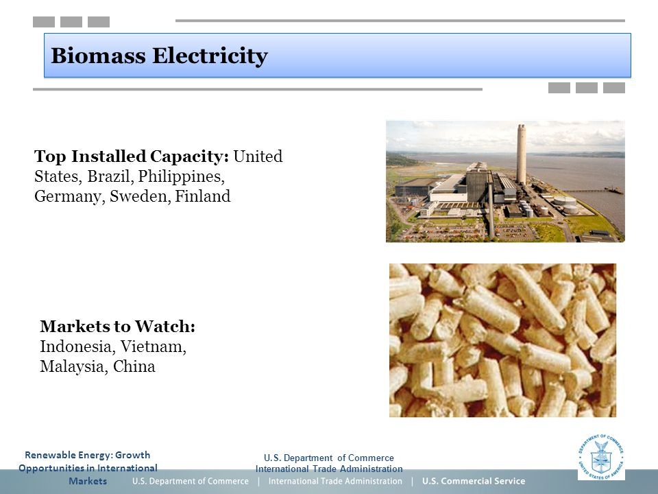 Biomass Electricity U.S. Department of Commerce International Trade Administration Top Installed Capacity: United States, Brazil, Philippines, Germany