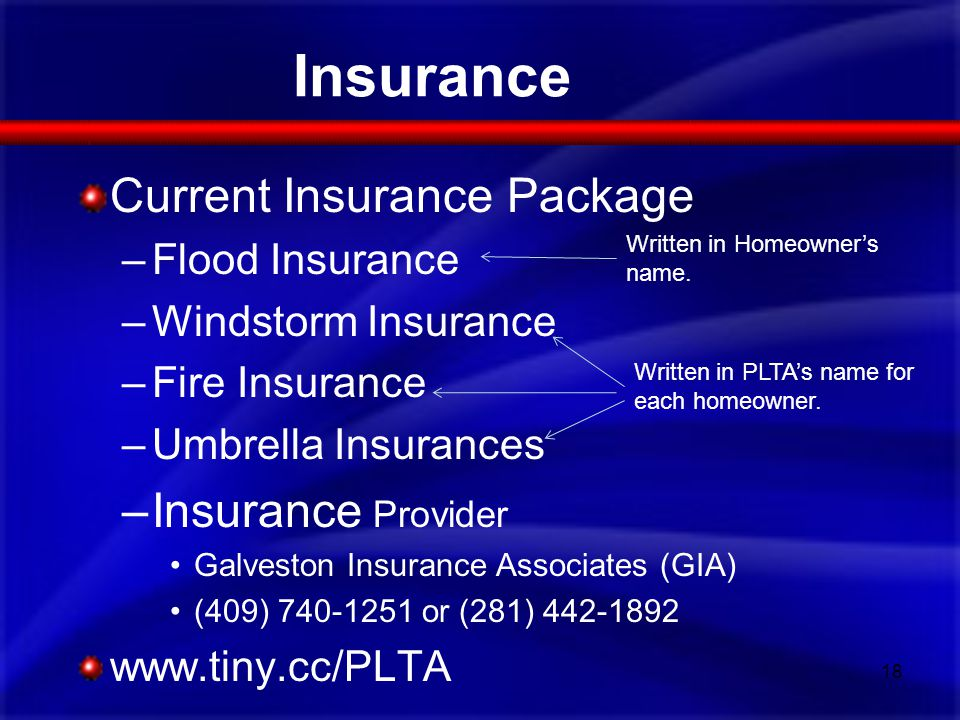 Current Insurance Package –Flood Insurance –Windstorm Insurance –Fire Insurance –Umbrella Insurances –Insurance Provider Galveston Insurance Associate