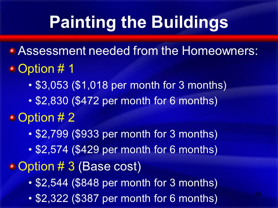 Painting the Buildings Assessment needed from the Homeowners: Option # 1 $3,053 ($1,018 per month for 3 months) $2,830 ($472 per month for 6 months) O