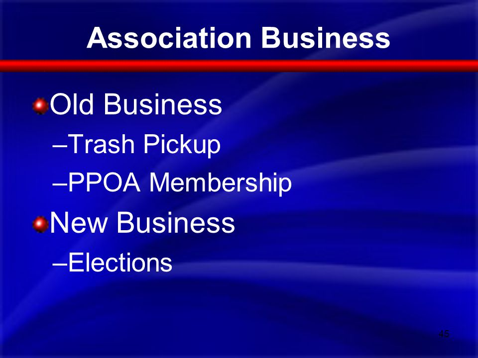Association Business Old Business –Trash Pickup –PPOA Membership New Business –Elections 45