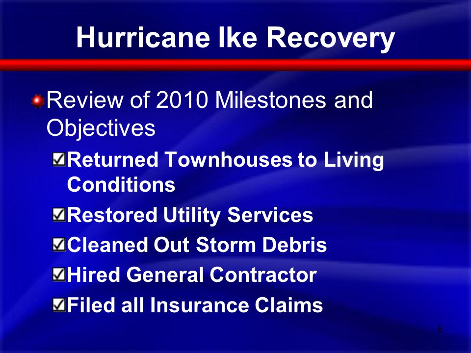 Hurricane Ike Recovery Review of 2010 Milestones and Objectives Returned Townhouses to Living Conditions Restored Utility Services Cleaned Out Storm D