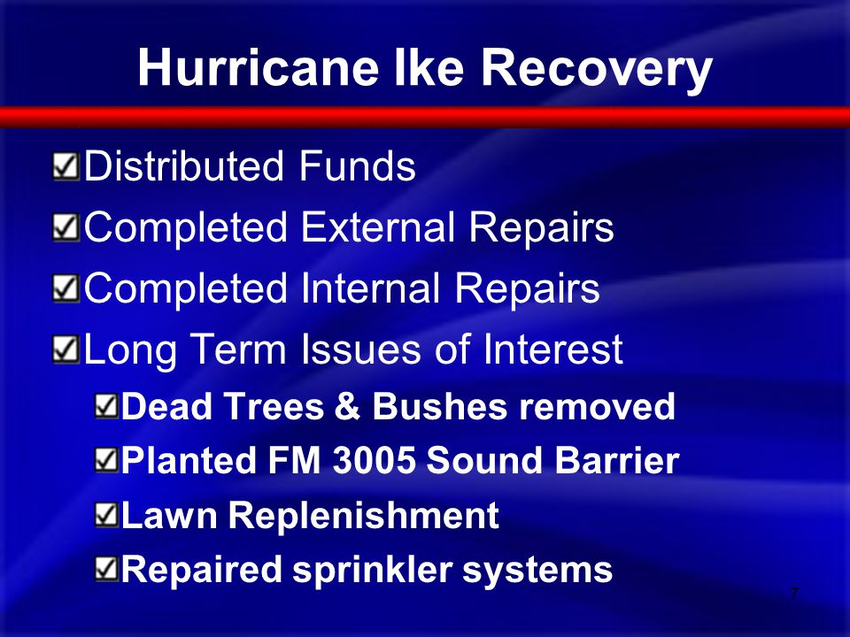 Hurricane Ike Recovery Distributed Funds Completed External Repairs Completed Internal Repairs Long Term Issues of Interest Dead Trees & Bushes remove