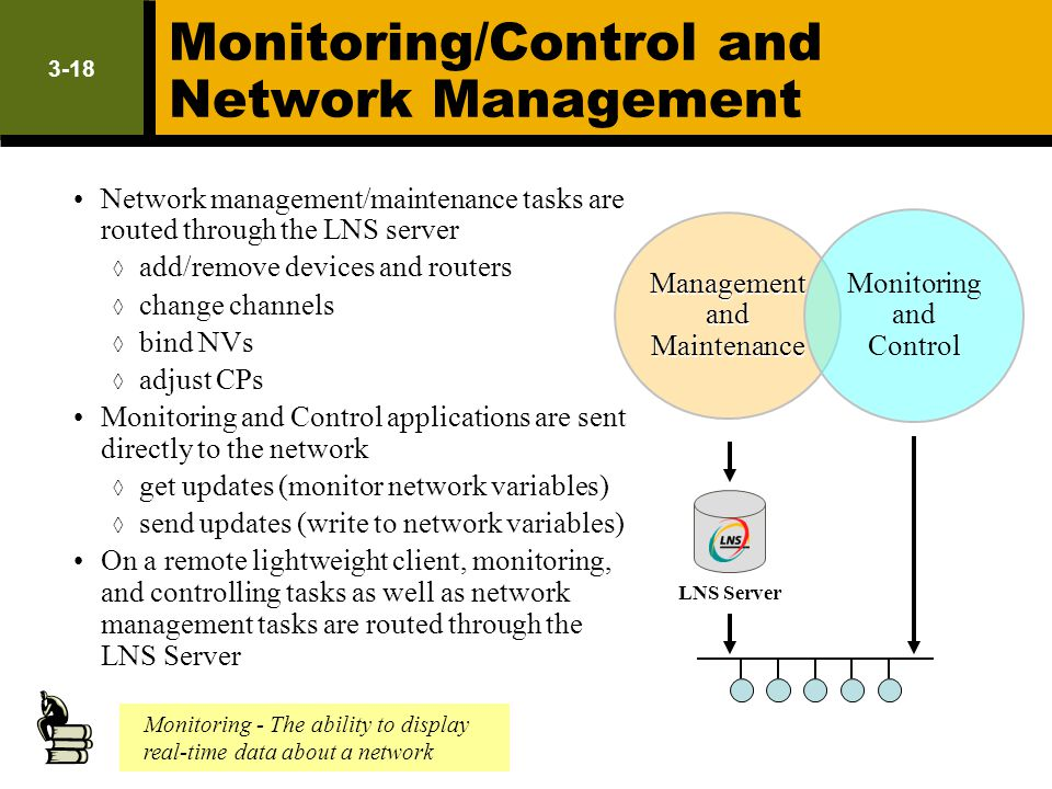 3-18 Monitoring/Control and Network Management Network management/maintenance tasks are routed through the LNS server add/remove devices and routers c