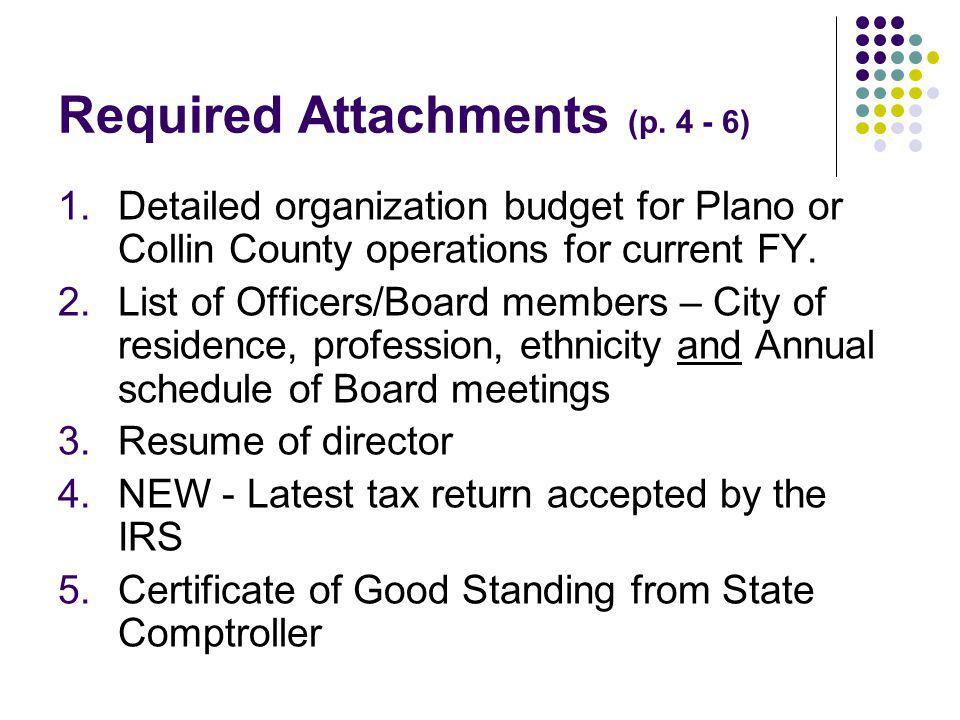 Required Attachments (p.