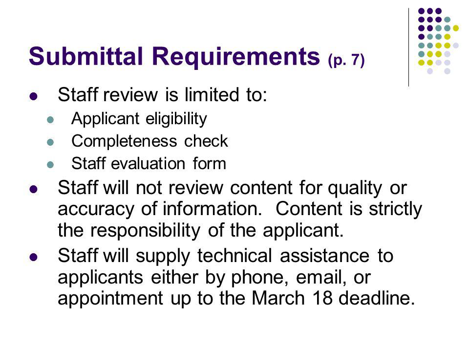 Submittal Requirements (p.