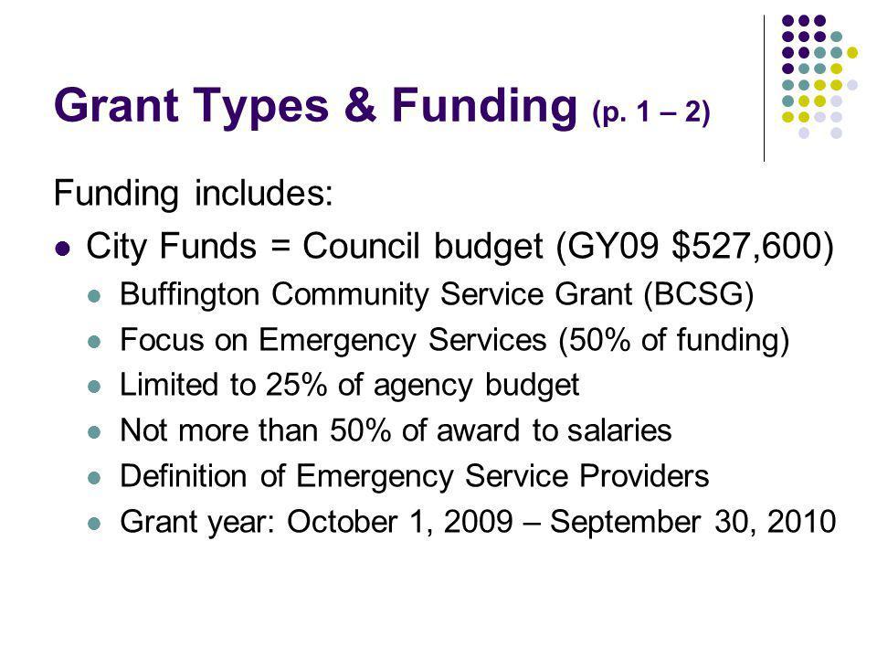 Grant Types & Funding (p.