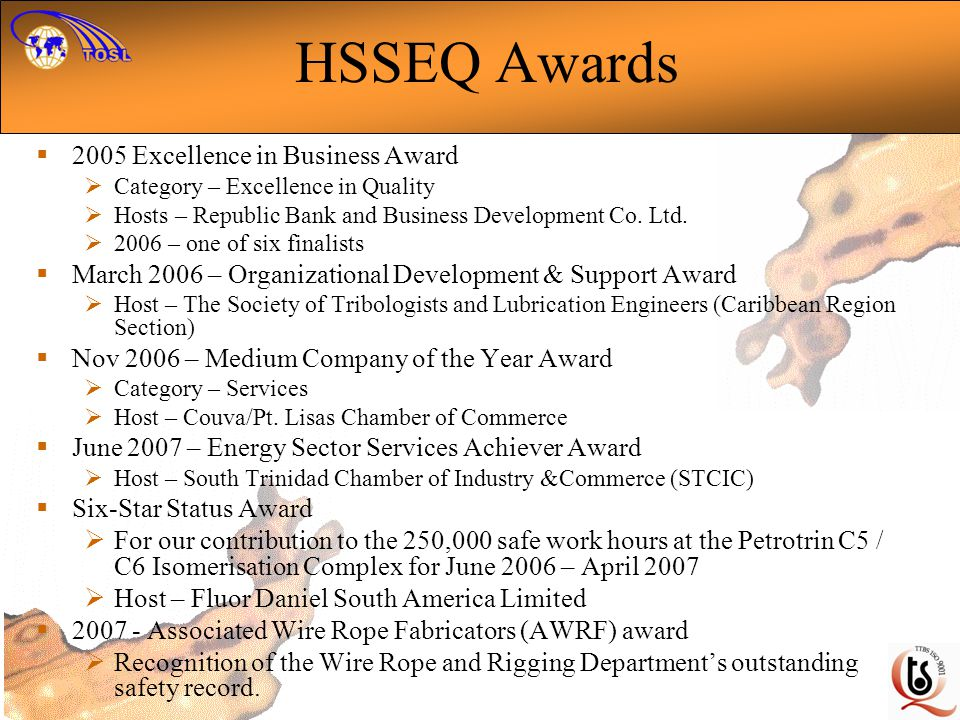 HSSEQ Awards 2005 Excellence in Business Award Category – Excellence in Quality Hosts – Republic Bank and Business Development Co.