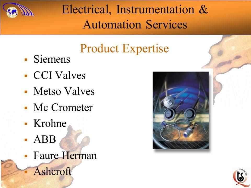 Product Expertise Siemens CCI Valves Metso Valves Mc Crometer Krohne ABB Faure Herman Ashcroft Electrical, Instrumentation & Automation Services