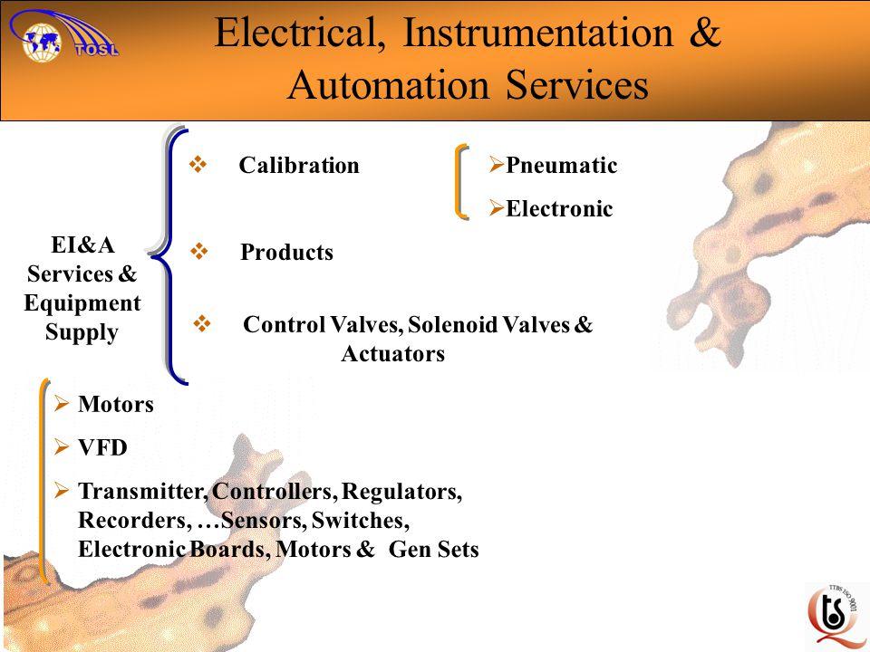 Control Valves, Solenoid Valves & Actuators EI&A Services & Equipment Supply Motors VFD Transmitter, Controllers, Regulators, Recorders, …Sensors, Swi