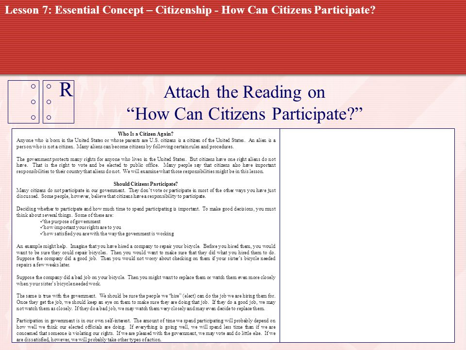 R Attach the Reading on How Can Citizens Participate? Who Is a Citizen Again? Anyone who is born in the United States or whose parents are U.S. citize