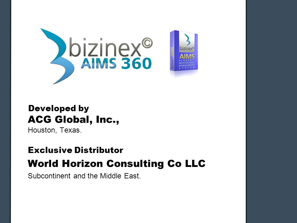 Developed by ACG Global, Inc., Houston, Texas. Developed by ACG Global, Inc., Houston, Texas. Exclusive Distributor World Horizon Consulting Co LLC Su