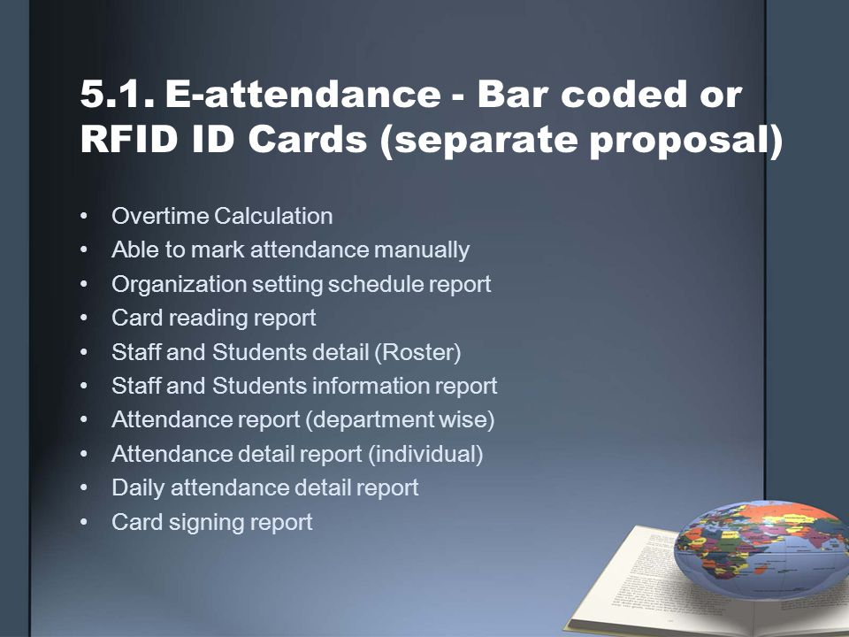 5.1.E-attendance - Bar coded or RFID ID Cards (separate proposal) Overtime Calculation Able to mark attendance manually Organization setting schedule