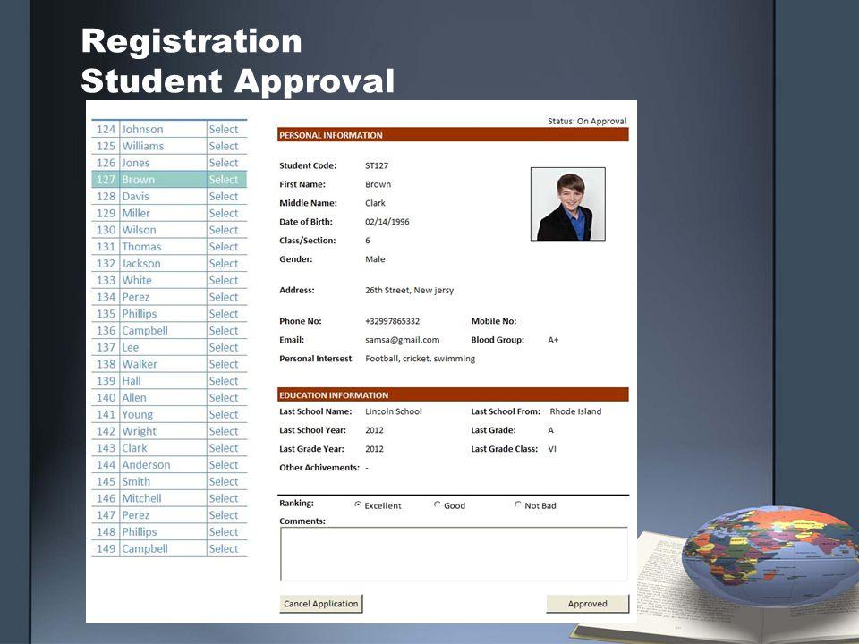 Registration Student Approval