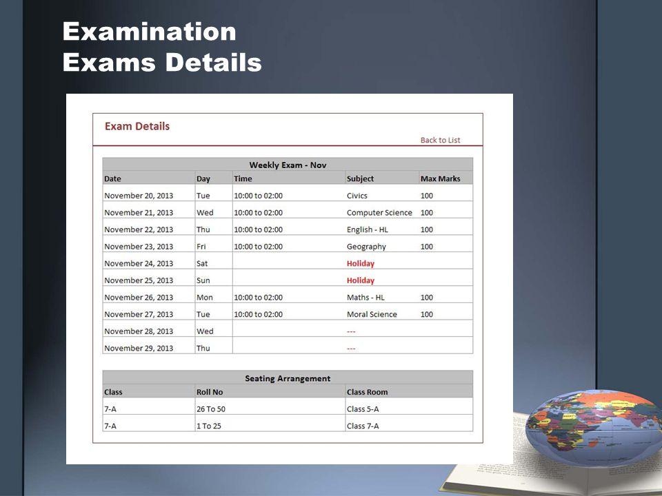 Examination Exams Details