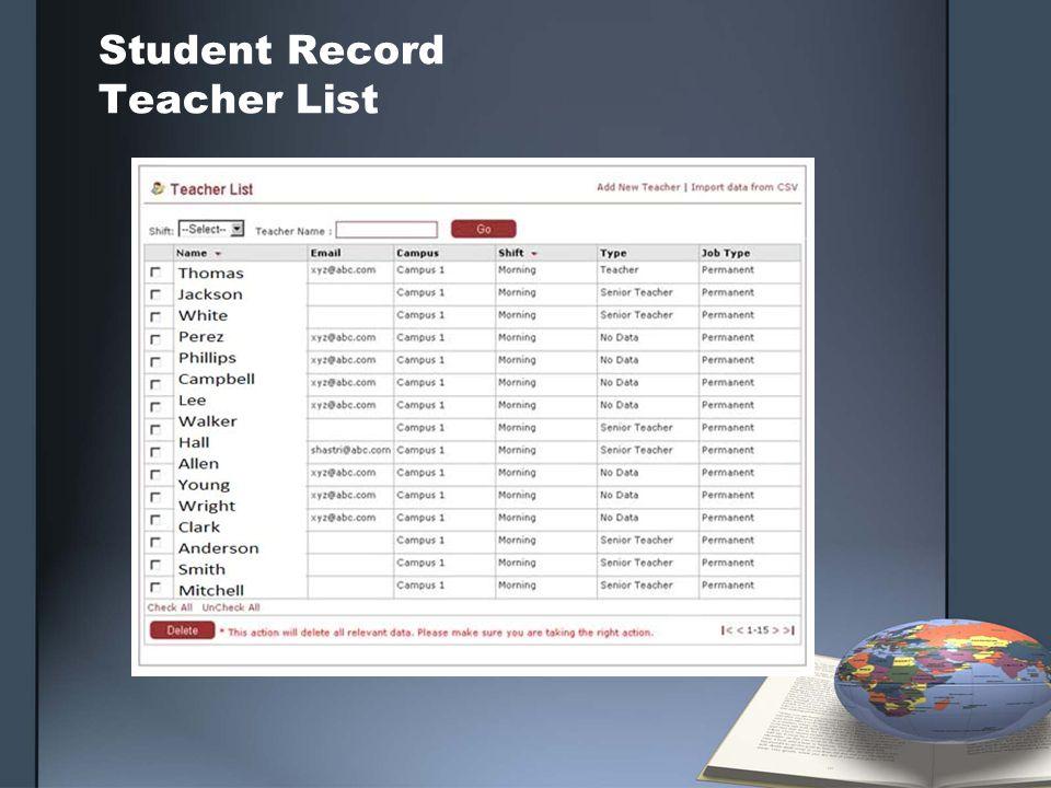 Student Record Teacher List