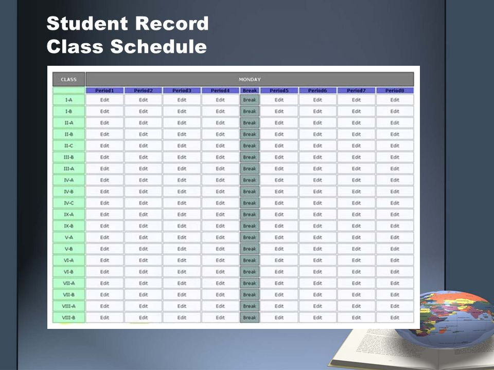 Student Record Class Schedule