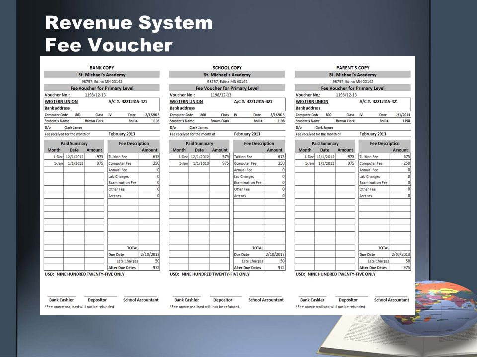 Revenue System Fee Voucher