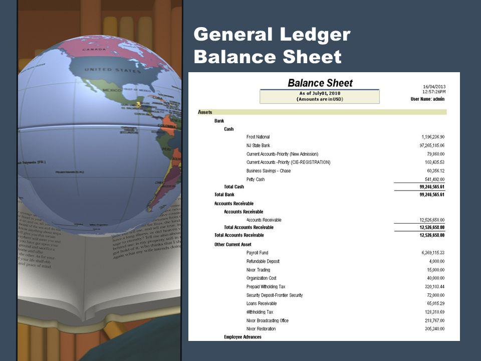 General Ledger Balance Sheet